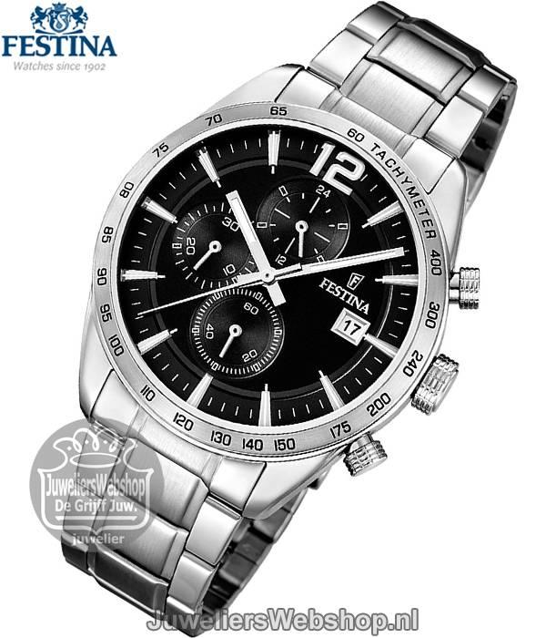 Festina horloge F16759 4 Chrono Heren Zwart Festina horloges
