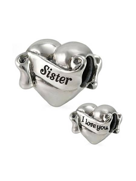 Ohm Beads I Love You Sister Bedel Aal005 Zilver