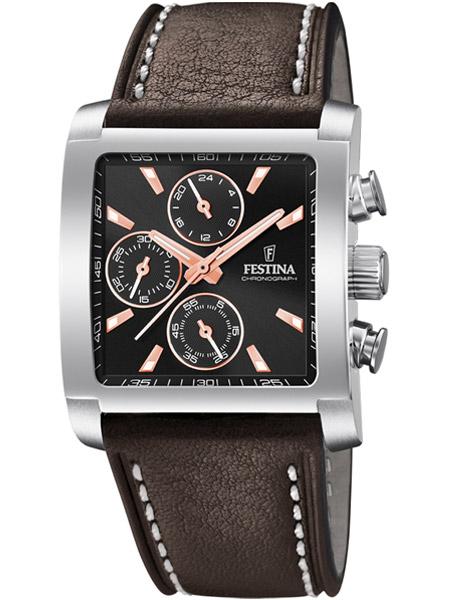 Beste Festina horloge F20424-4 heren timeless chronograaf vierkant bruin NL-04
