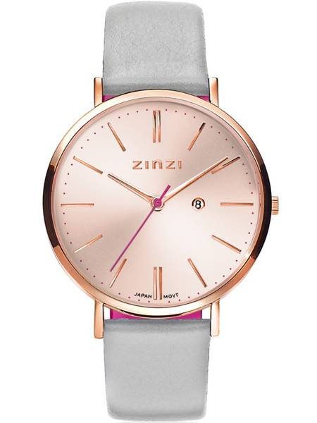 Zinzi Retro Horloge Ziw405lg Rose Kast Met Lichtgrijze Band