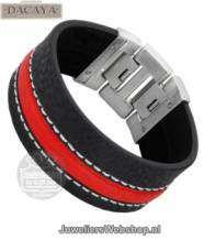 Leren armband Dacaya Highway Black/Red 28mm F106528