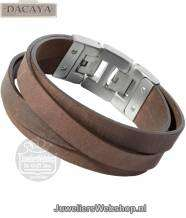 Leren armband Dacaya Cross Roads Brown 20mm F100220