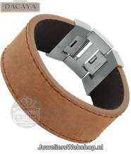 Leren armband Dacaya Rebel Edge Brown 28mm F101328