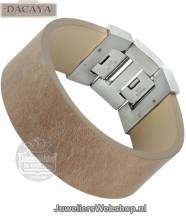 Leren armband Dacaya Rock Edge Sand 28mm F102228