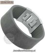 Leren armband Dacaya Rock Edge Grey 28mm F102428