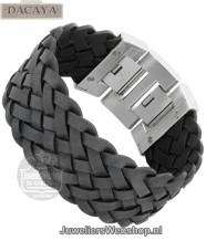 Leren armband Dacaya Off Road Black 28mm F107128