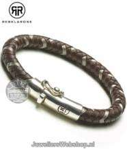 Rebel and Rose Braided Round Metal Earth RR-L0003-S-19.5 Armband Leder
