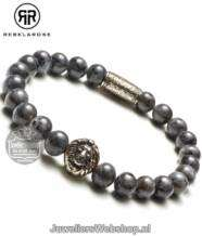 Rebel and Rose Grey Seduction RR-8L025-S-17.5 Armband 8mm Silver Lion
