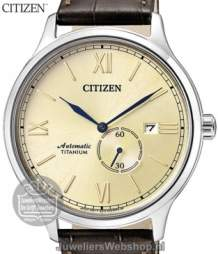 citizen automatic titanium herenhorloge NJ0090-13P Bruin Leren Band