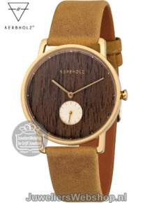 Kerbholz dames horloge frida walnut mustard gold 35mm