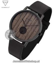 Kerbholz Fritz Walnut Midnight Black Horloge 4251240404226