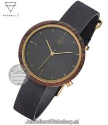 Kerbholz Hilde Sandalwood Midnight Black Horloge 4251240402475