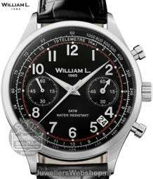 william l chrono vintage style heren horloge zwart