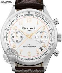 william l chrono vintage style heren horloge staal donkerbruin