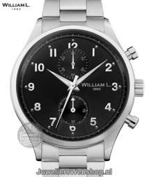 william l small chrono vintage style heren horloge staal zwart